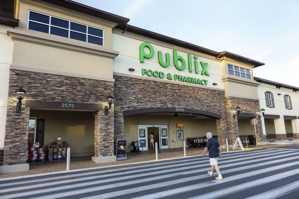 The sun-dappled entrance to Publix, grocery store in Ocala.