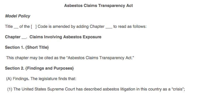 ALEC asbestos model bill