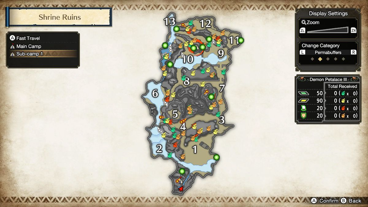 """Shrine Ruins map in Monster Hunter Rise showing Shimmering Red Berry locations for the """"Roly-poly Lanterns"""" quest."""