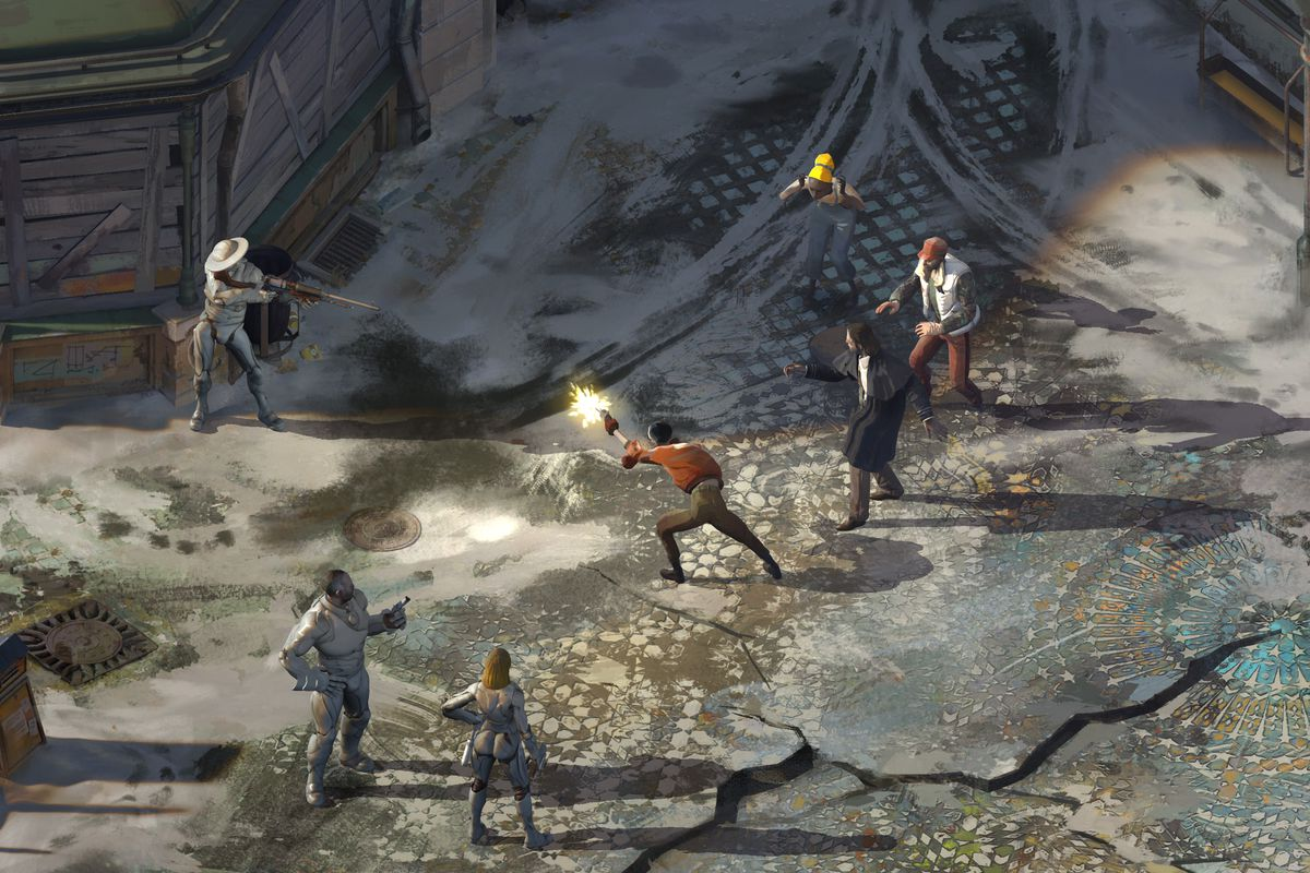 Disco Elysium - a firefight in the streets of Revachal