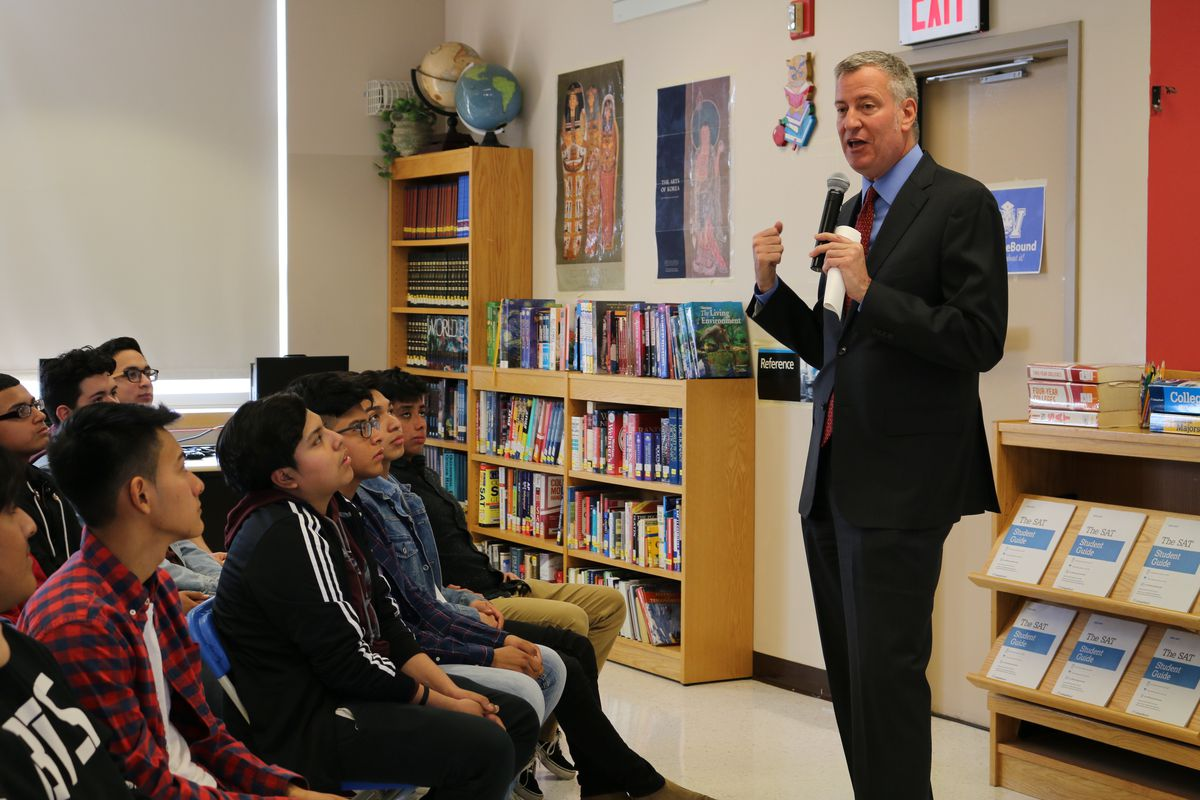 Mayor Bill de Blasio speaks to juniors at Queens Vocational and Technical High School. For the first time, the city is offering the SAT to all juniors for free on a school day.