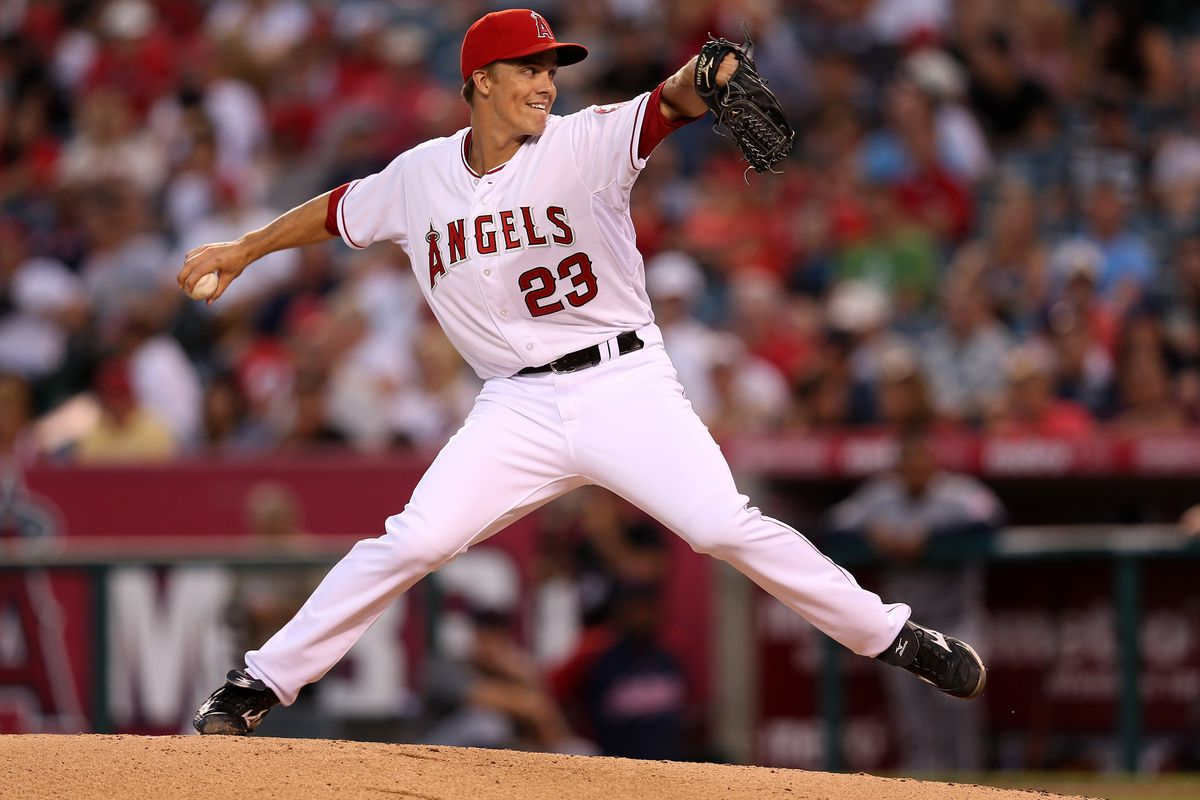 ANAHEIM, CA - AUGUST 14:  Zack Greinke #23 of the Los Angeles Angels of Anaheim throws a pitch against the Cleveland Indians at Angel Stadium of Anaheim on August 14, 2012 in Anaheim, California.  (Photo by Stephen Dunn/Getty Images)