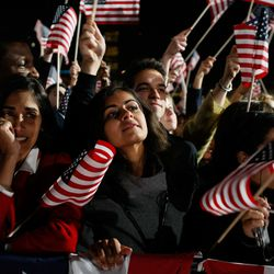 Obama supporters react during an election night gathering in Grant Park. | Joe Raedle/Getty Images