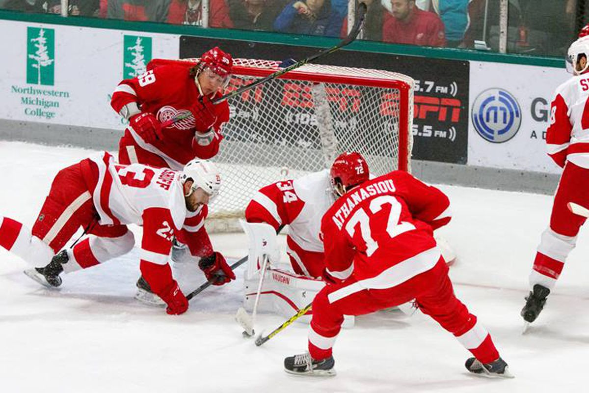 Andreas Athanasiou Scores a Power Play Goal In The Annual Red & White Game. Training Camp 2015