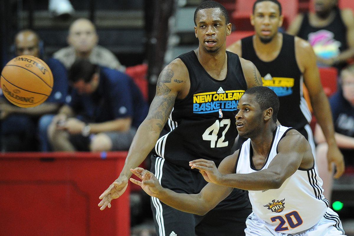 July 18, 2012; Las Vegas, NV, USA;  Phoenix Suns guard Erving Walker (20) is guarded by New Orleans Hornets forward Lance Thomas (42) during the second half of the game at the Thomas & Mack Center. Mandatory Credit: Jayne Kamin-Oncea-US PRESSWIRE