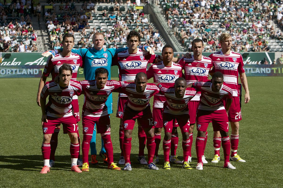 PORTLAND, OR - AUGUST 5: The FC Dallas starting eleven pose before MLS match against Portland Timbers at Jeld-Wen Field on August 5, 2012 in Portland, Oregon.  (Photo by Steve Dipaola/Getty Images)