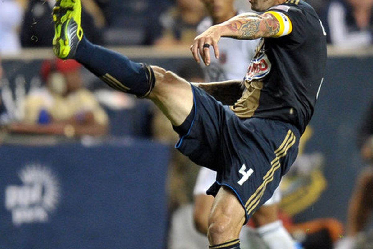 CHESTER, PA - SEPTEMBER 29: Danny Califf #4 of the Philadelphia Union clears the ball during the game against D.C. United at PPL Park on September 29, 2011 in Chester, Pennsylvania. The Union won 3-2. (Photo by Drew Hallowell/Getty Images)