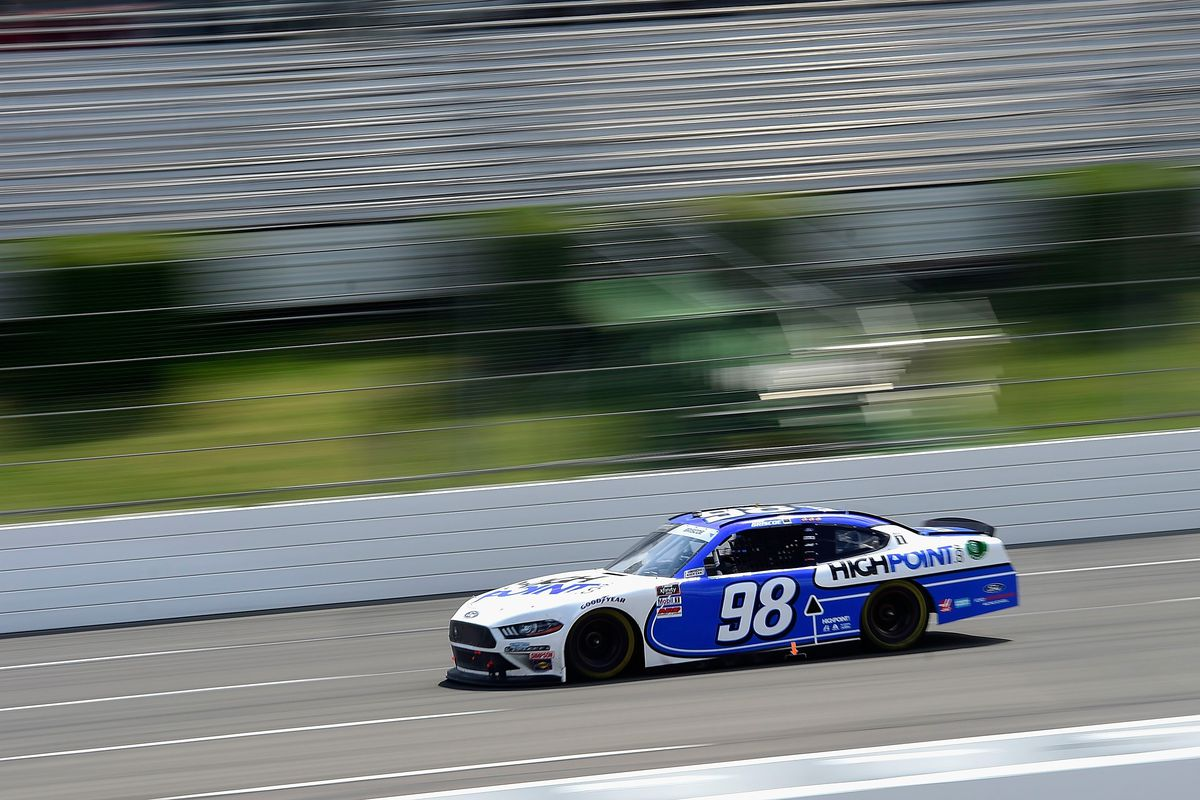 Chase Briscoe, driver of the #98 Highpoint.com Ford, drives during the NASCAR Xfinity Series Pocono Green 225 Recycled by J.P. Mascaro & Sons at Pocono Raceway on June 28, 2020 in Long Pond, Pennsylvania.