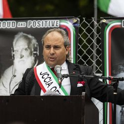 Ron Onesti, president of the Joint Civic Committee of Italian Americans, speaks during the Columbus Day: Italian American Heritage Celebration at Arrigo Park in the Little Italy neighborhood, Monday morning, Oct. 12, 2020.