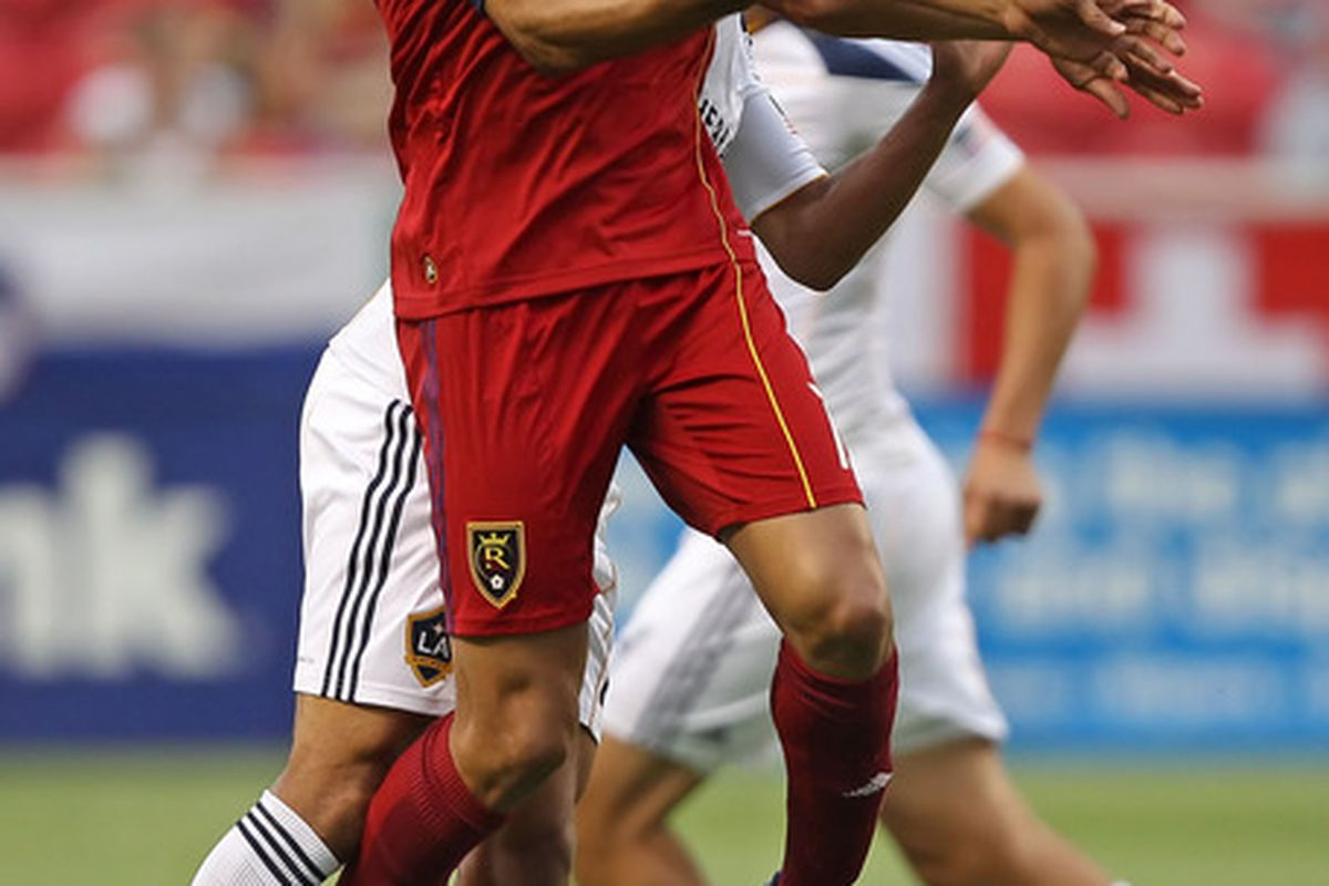 SANDY, UT - JUNE 9: Alvaro Saborio #15 of Real Salt Lake knocks a ball down durin a game against the Los Angels Galaxy during the first half of an MLS soccer game June 9, 2010 in Sandy, Utah. (Photo by George Frey/Getty Images)