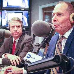 United Utah's Jim Bennett, left, listens as Republican John Curtis answer a listener's question during an on-air debate between 3rd Congressional District candidates hosted by KSL Newsradio in Salt Lake City on Tuesday, Oct. 10, 2017. Bennett and Curtis are vying to fill the remaining year of former GOP Rep. Jason Chaffetz's term. Chaffetz, now a Fox News contributor, resigned June 30.