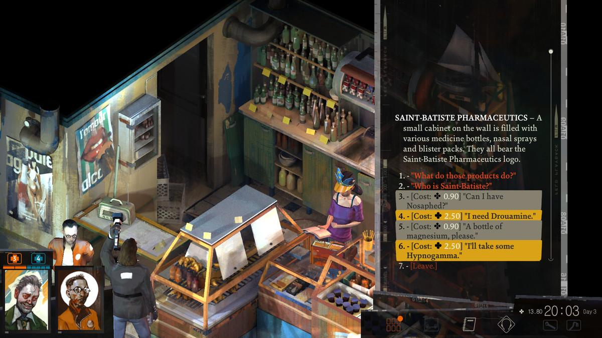 A screenshot showing a purchase menu in Disco Elysium