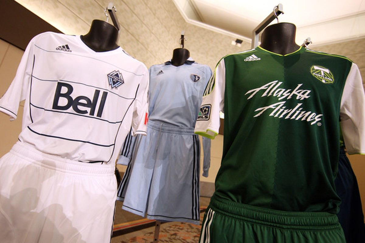 This is a photo of a Timbers kit, until more Timbers images can be obtained legally. (Photo by Ned Dishman/Getty Images)