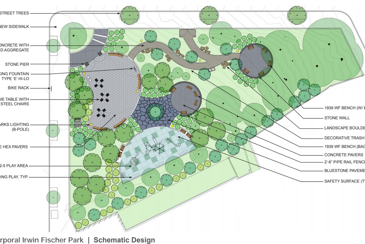 The new design plans for the Corporal Irwin Fischer Park in the Highbridge section of The Bronx.