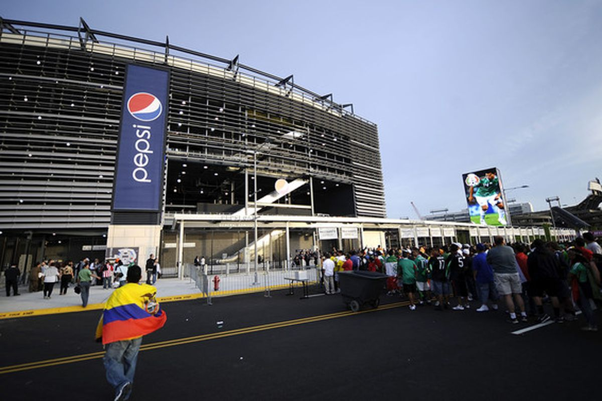 EAST RUTHERFORD, NJ - MAY 07:  Soccer fans wait to enter for a match between Mexico and Ecuador in the FMF U.S. Tour at the New Meadowlands Stadium on May 7, 2010 in East Rutherford, New Jersey.  (Photo by Jeff Zelevansky/Getty Images)