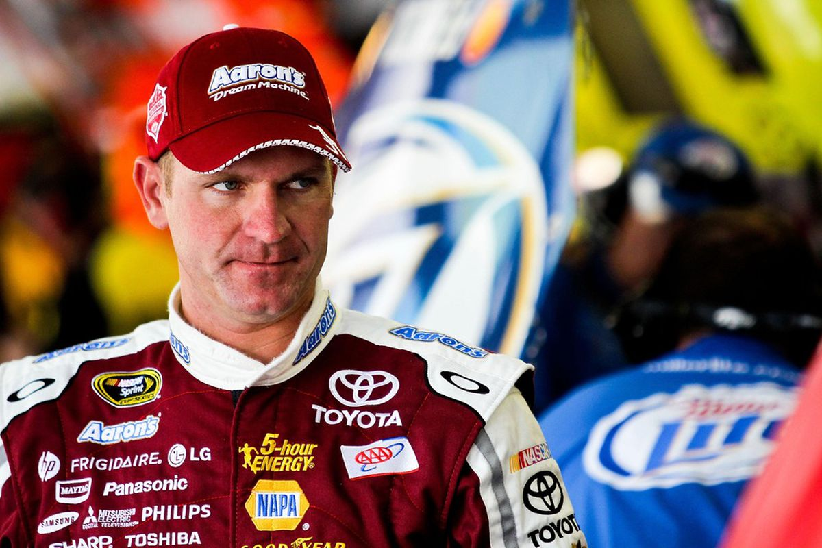May 4, 2012; Talladega, AL, USA; NASCAR Sprint Cup Series driver Clint Bowyer (15) in the garage during practice for the Aarons 499 at Talladega Superspeedway. Mandatory Credit: Daniel Shirey-US PRESSWIRE