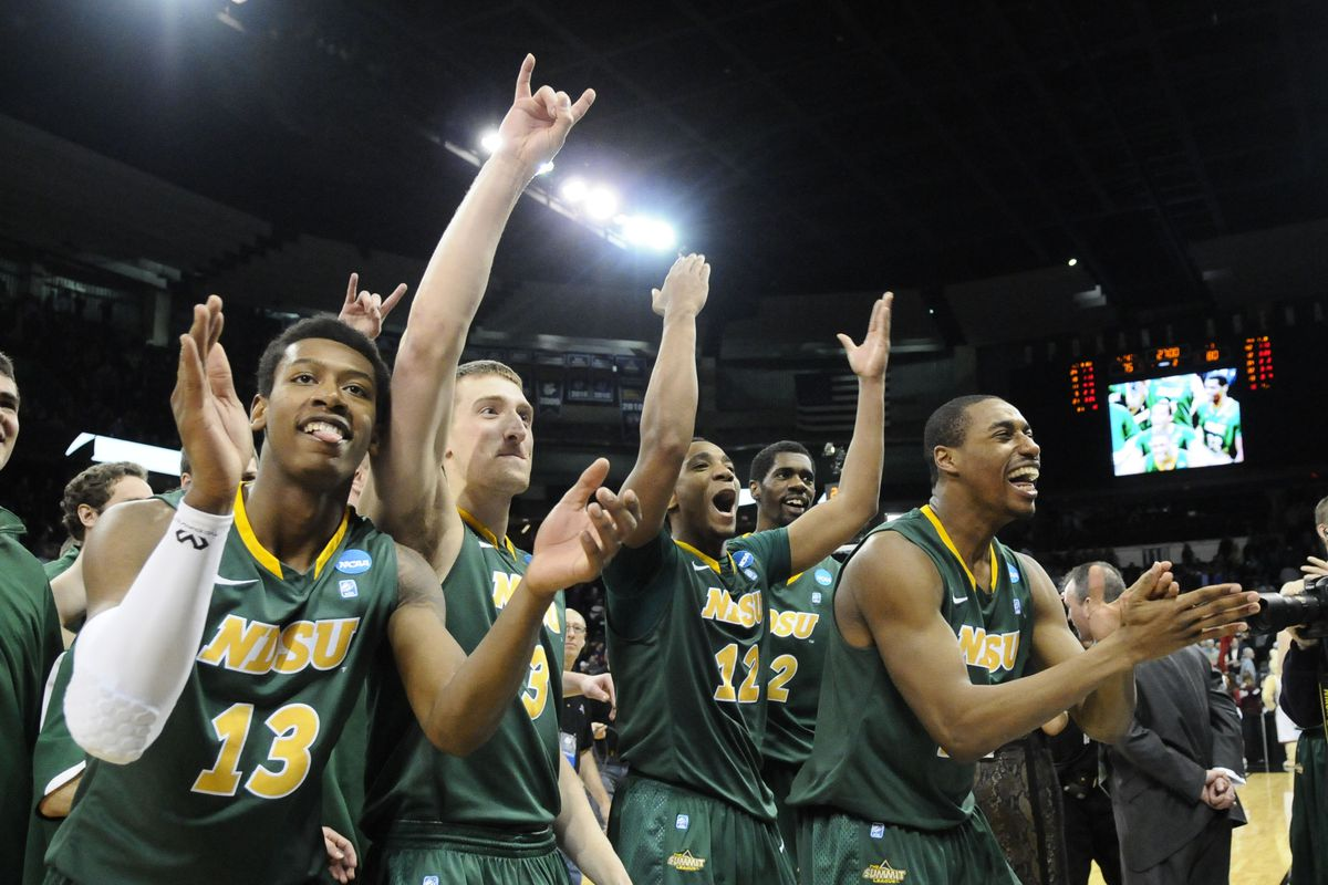 North Dakota State celebrates after a resilient upset of Oklahoma in overtime.