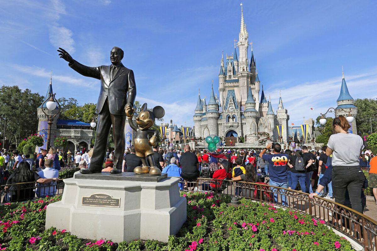 Bronze statue of Walt Disney and Micky Mouse in front of the Cinderella Castle at the Magic Kingdom.