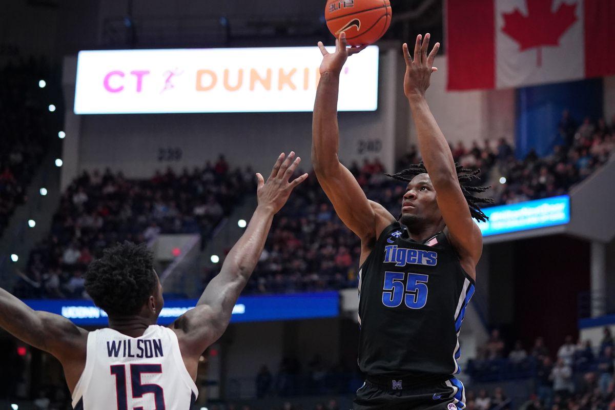 Memphis Tigers forward Precious Achiuwa shoots against Connecticut Huskies forward Sidney Wilson in the second half at XL Center. UConn defeated Memphis 64-61.