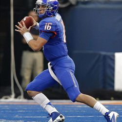 Joe Southwick of the Boise State Broncos looks to pass against BYU during NCAA football in Boise, Thursday, Sept. 20, 2012.