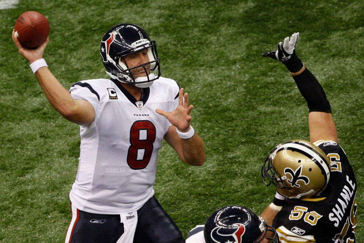 NEW ORLEANS, LA - SEPTEMBER 25:   Matt Schaub #8 of the Houston Texans throws a pass over  Scott Shanle #58 of the New Orleans Saints at Louisiana Superdome on September 25, 2011 in New Orleans, Louisiana.  (Photo by Chris Graythen/Getty Images)