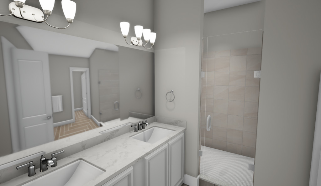 A rendering of a townhome's bathroom with grey walls.