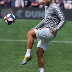 FOXBOROUGH, MA - MARCH 30: Minnesota United FC defender Francisco Calvo #5 warms up prior to the game at Gillette Stadium on March 30, 2019 in Foxborough, Massachusetts. (Photo by J. Alexander Dolan - The Bent Musket)