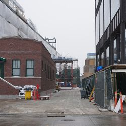 The walkway between the ballpark and the Gallagher Way building