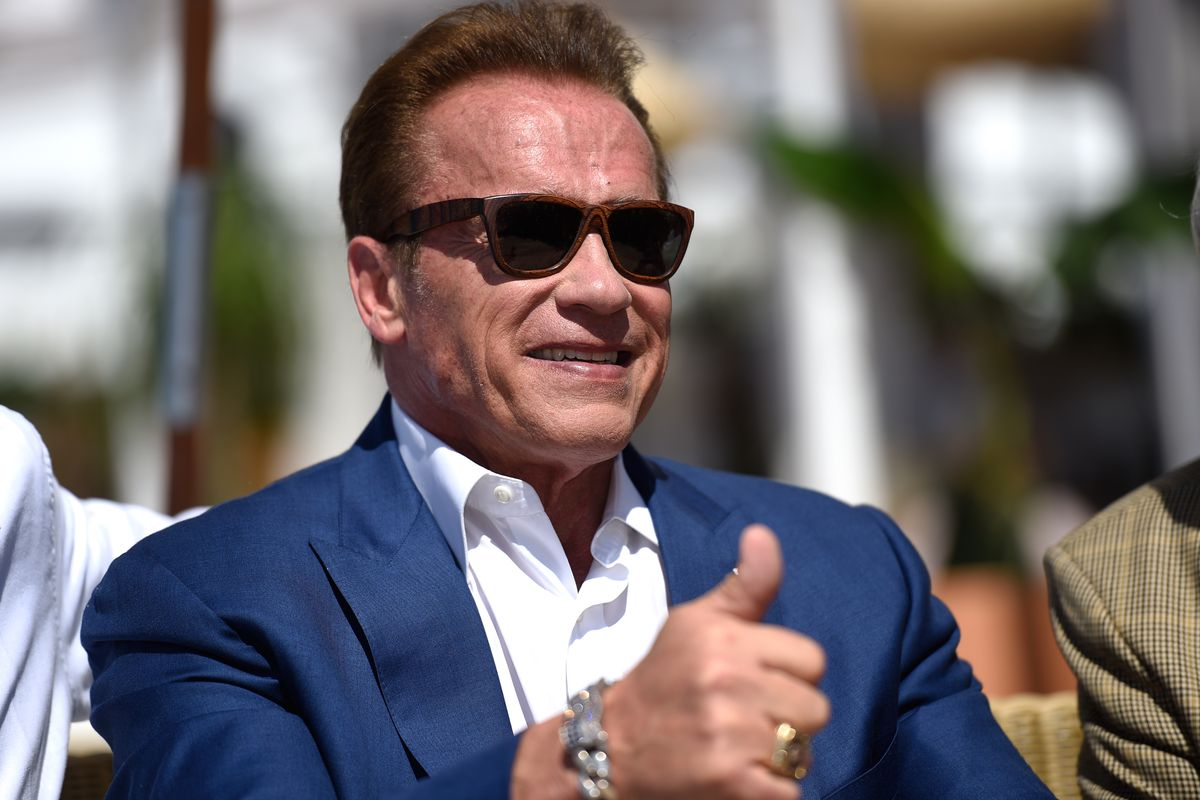 Arnold Schwarzenegger and Jean-Michel Cousteau Photocall for 'Wonders of the Sea 3D'