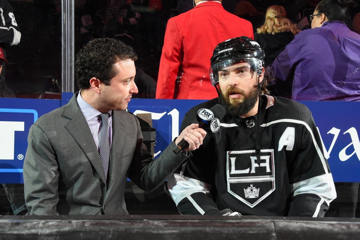 LOS ANGELES, CA - MARCH 9: Drew Doughty #8 of the Los Angeles Kings speaks to Fox Sports about their victory against the Colorado Avalanche at STAPLES Center on March 9, 2020 in Los Angeles, California.