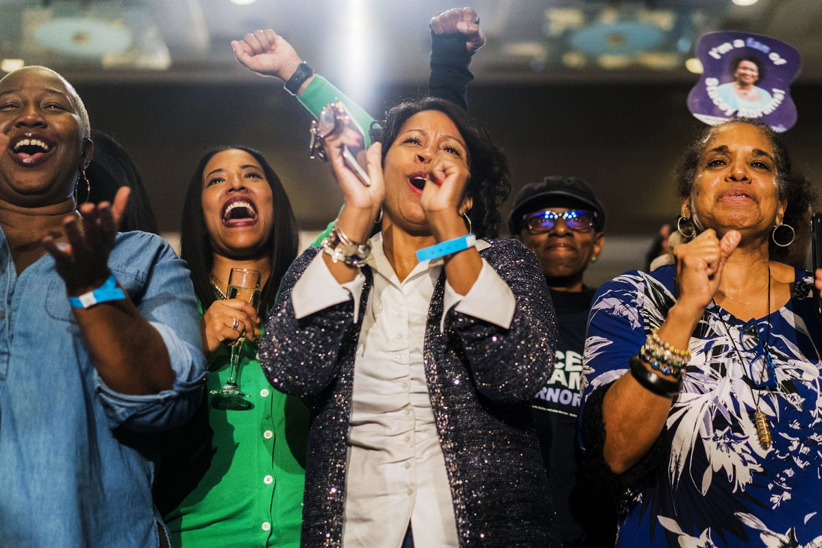 November 6: Supporters of former House Democratic Leader and Democratic nominee for Governor Stacey Abrams watch voting results come in during the victory party in Atlanta, Georgia. Abrams ended her campaign against controversial former secretary of state