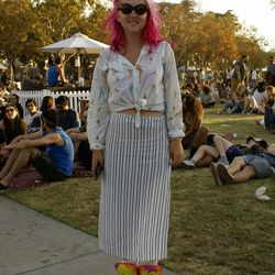 Over at The Lawn stage, Alix Masters matched her hair with her kicks.