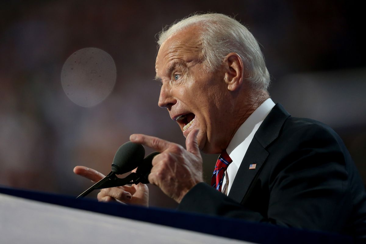 US Vice President Joe Biden delivers remarks on the third day of the Democratic National Convention