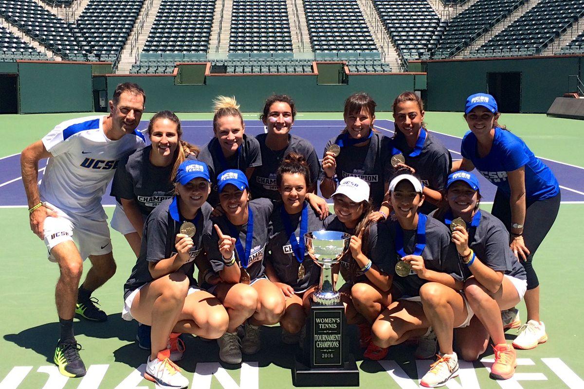 Coach Simon Thibodeau, left, with his UC Santa Barbara women's tennis team.