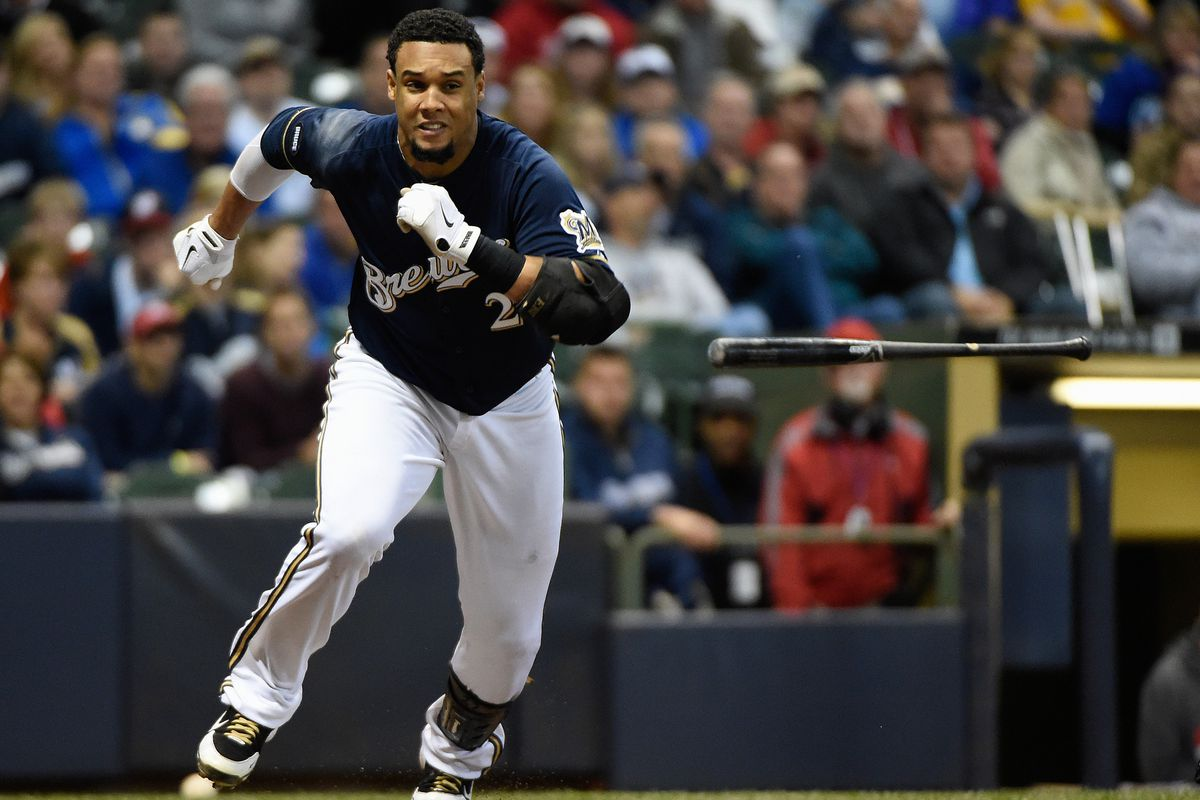 Pictured here: Carlos Gomez being chased by a ghost wielding a baseball bat