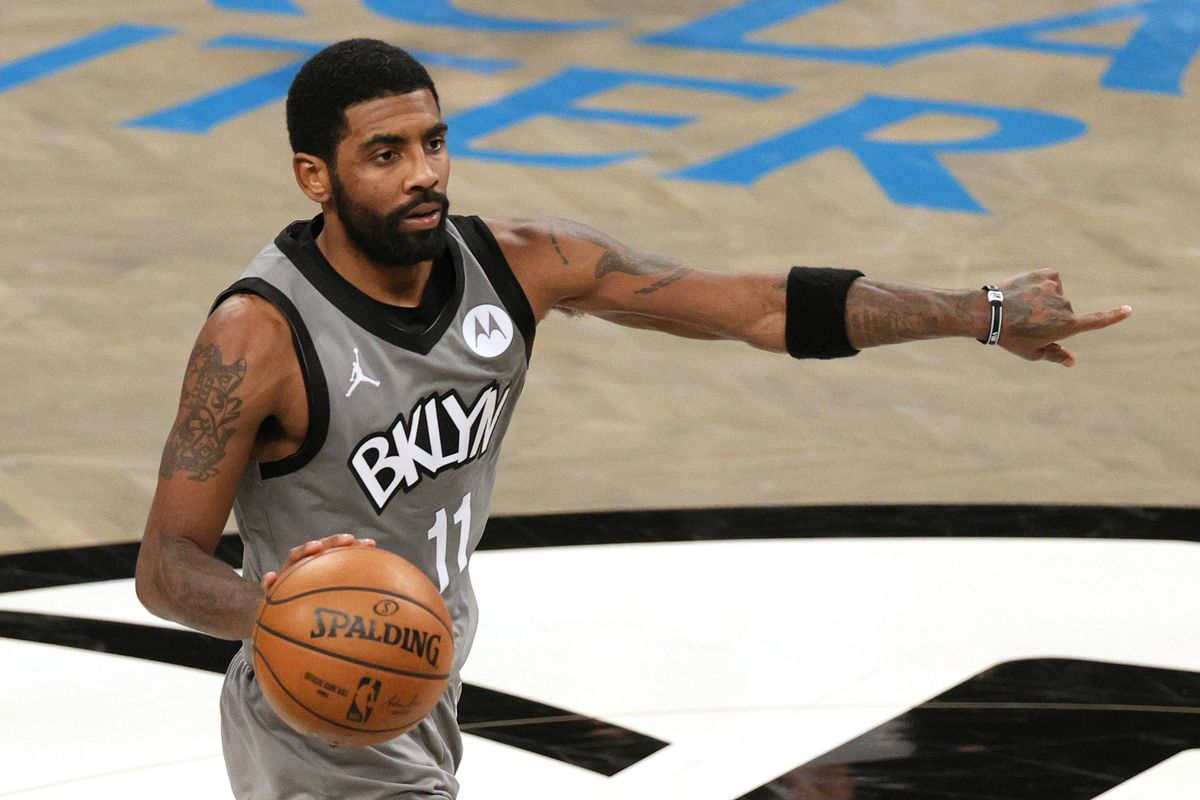 Kyrie Irving of the Brooklyn Nets calls a play during the second half against the Washington Wizards at Barclays Center on January 03, 2021 in the Brooklyn borough of New York City. The Wizards won 123-122.