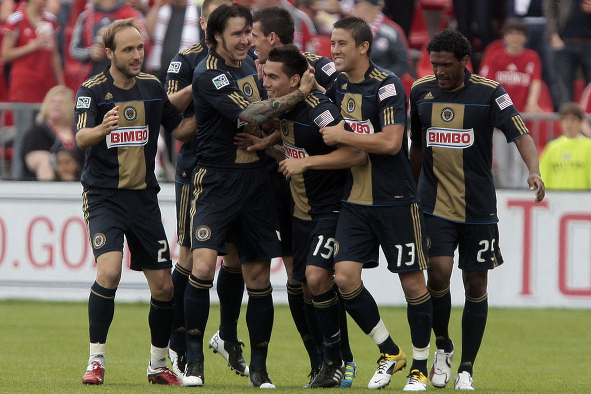TORONTO, CANADA - MAY 28:  The Philadelphia Union celebrates a goal by Gabriel Farfan against Toronto FC during MLS action at BMO Field May 28, 2011 in Toronto, Ontario, Canada. (Photo by Abelimages/Getty Images)