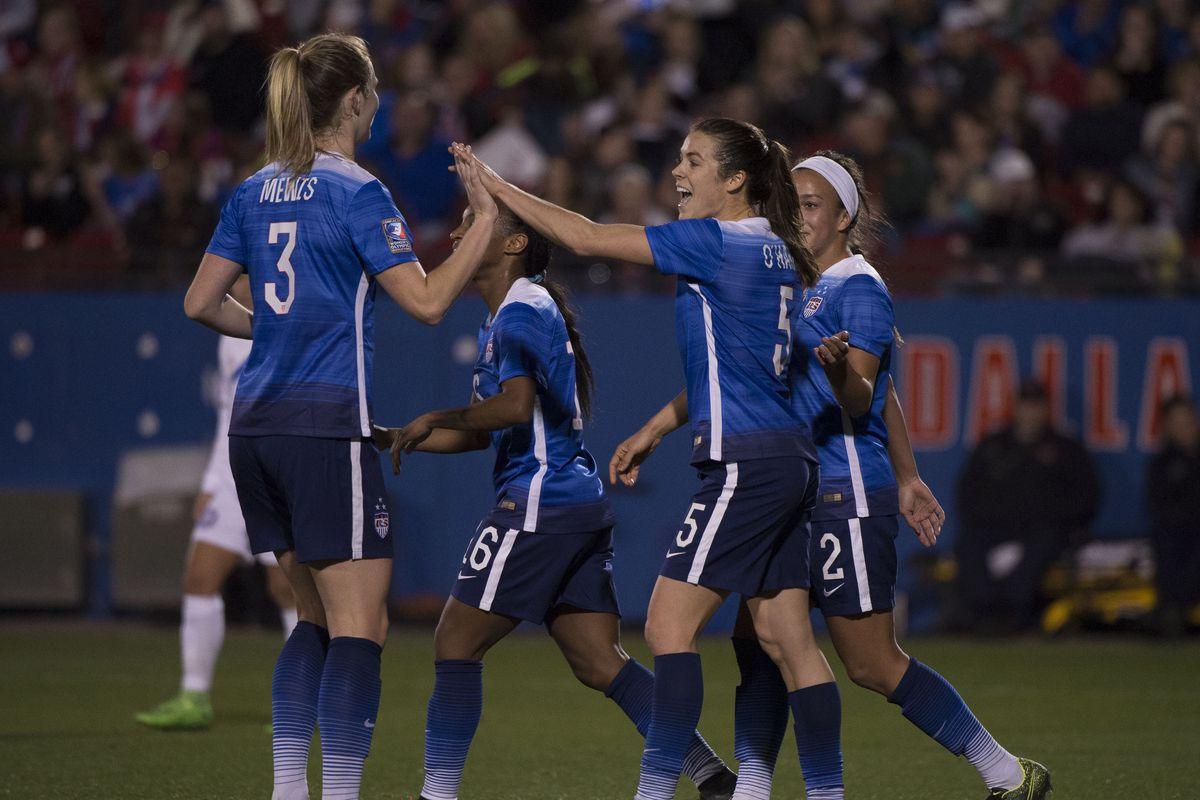 Feb 15, 2016; Frisco, TX, USA; United States midfielder Samantha Mewis (3) and defender Kelley O'Hara (5) celebrate O'Hara's goal against Puerto Rico during the first half at Toyota Stadium.