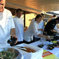 Café  Adelaide (Host Chef Chris Lusk)<br /><br />     Visiting Chefs: Michelle Bernstein, Michael Schwartz, Peter Vauthy<br /><br />      [Dish: Gulf Shrimp on grilled oregano, red grits and Absinthe vert beurre]<br /><br />