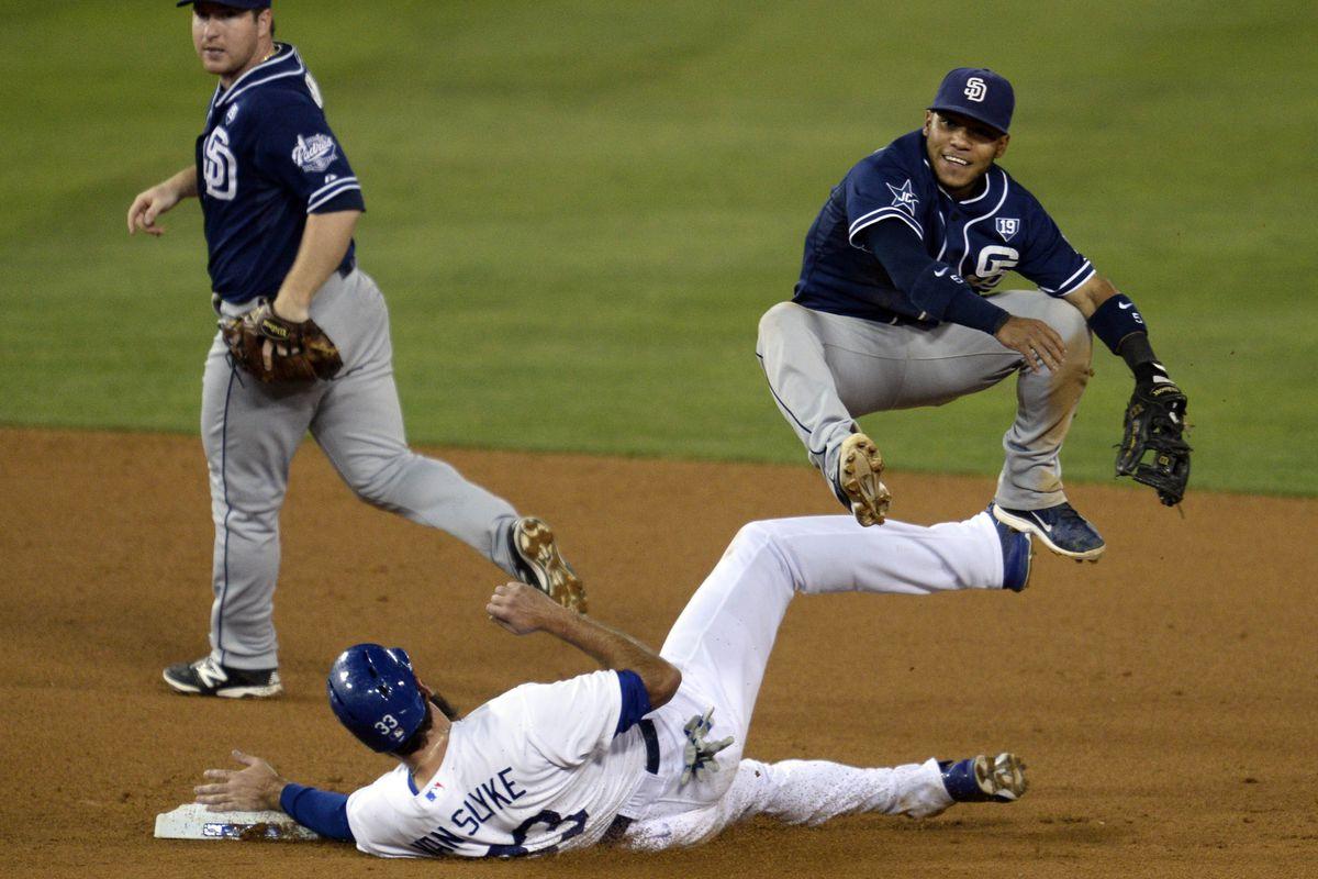 Alexi Amarista utilizing his signature ninja bunny hop in a double play attempt.