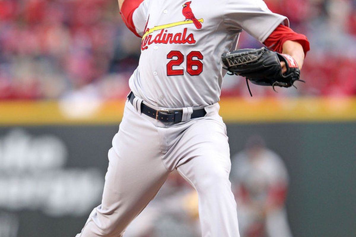 CINCINNATI, OH - APRIL 10:  Kyle Lohse #26 of the St Louis Cardinals throws a pitch during the game against the Cincinnati Reds at Great American Ball Park on April 10, 2012 in Cincinnati, Ohio.  (Photo by Andy Lyons/Getty Images)