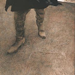 """Boots in the """"Trodden Weed"""" are a self-portrait Wyeth painted after he got a taste of mortality during an operation."""
