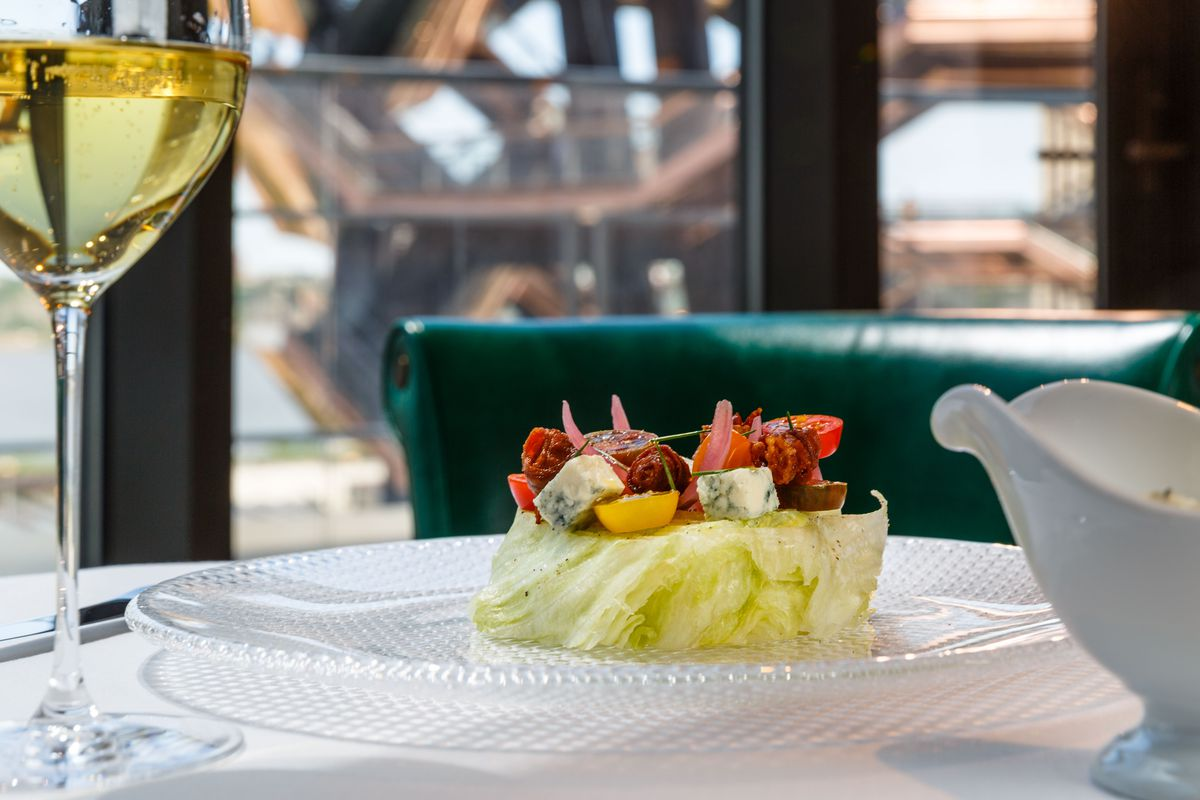 An iceberg salad at TAK Room sits adjacent the Vessel at Hudson Yards