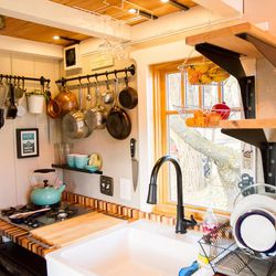 The kitchen of Meg and Dan's tiny house.