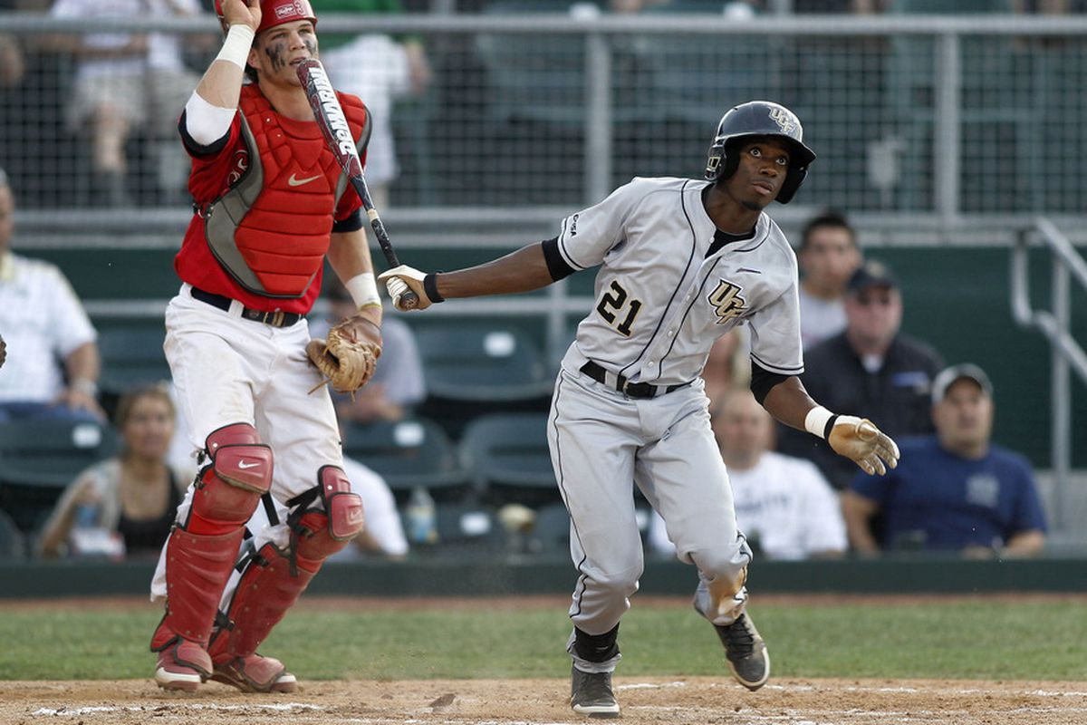 Darnell Sweeney hitting during his time at UCF