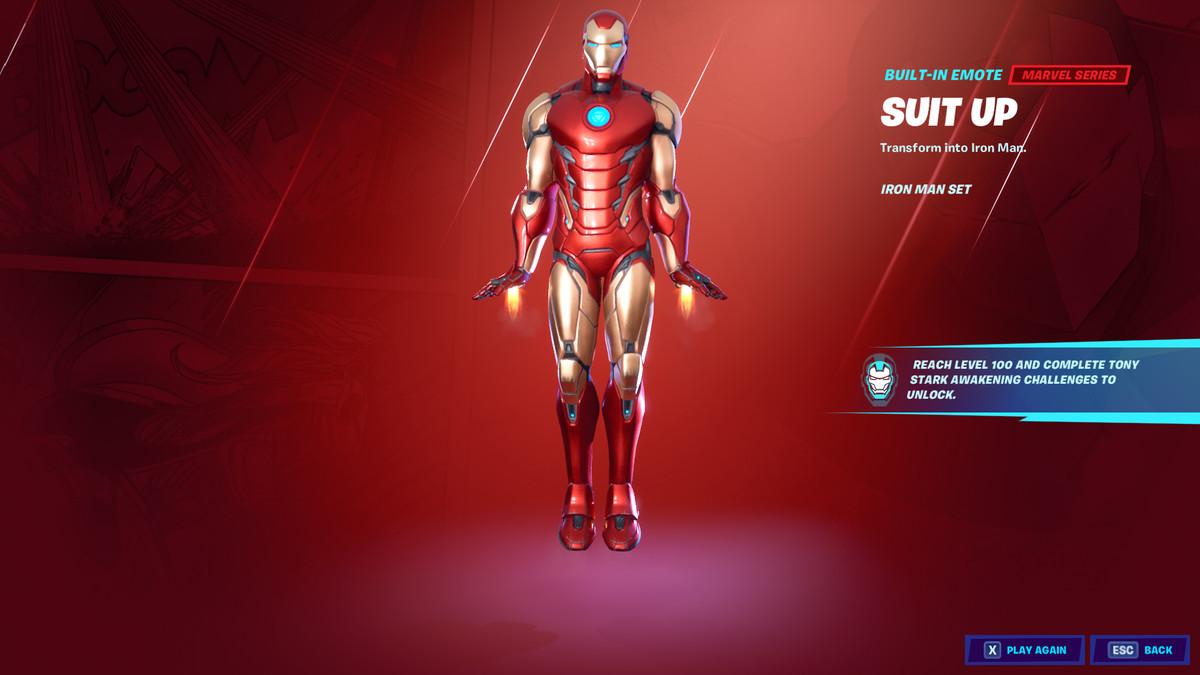 Fortnite's Iron Man skin and emote