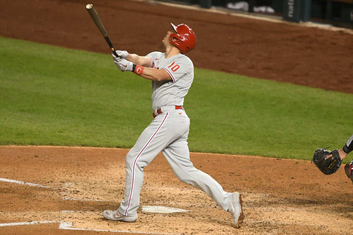 J.T. Realmuto #10 of the Philadelphia Phillies takes a swing during a baseball game against the Washington Nationals at Nationals Park on September 23, 2020 in Washington, DC.