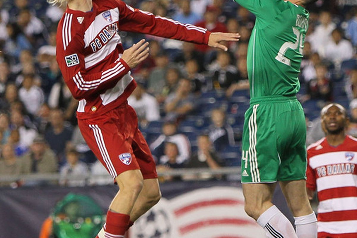 FOXBORO, MA - MAY 1:  Brek Shea #20 of FC Dallas presses goalie Prston Burpo #24 of the New England Revolution, who makes the save, at Gillette Stadium on May 1, 2010 in Foxboro, Massachusetts. (Photo by Jim Rogash/Getty Images)