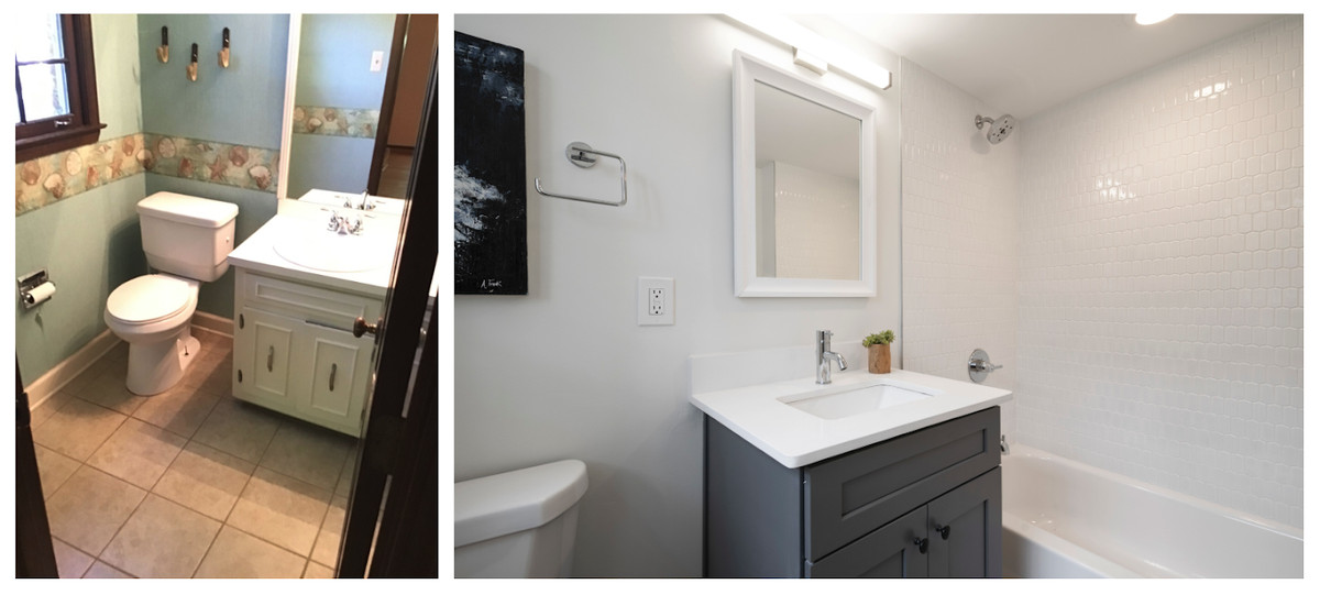 A before/after photo of a white bathroom in an old house.