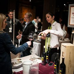 Pouring wine at the Appellation Trail.
